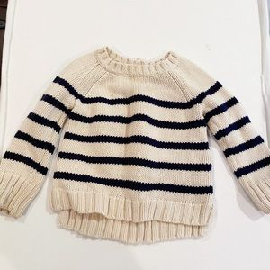 Chunky striped sweater with bow detail